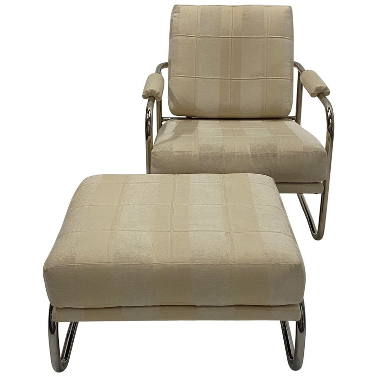 Stylish Mid-Century Modern Chrome and Upholstered Club Chair and Ottoman