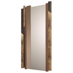 Stylish Mirror Distressed Paint Finish Wood Decorative Insert Art Glass Vetrite