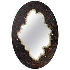 Stylish Mirror on Aluminium Panel Hand Decorated with Artistic Mosaic