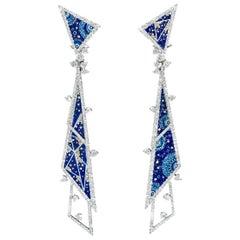 Stylish Modern Earrings White Gold White Diamonds Hand Decorated with Nanomosaic