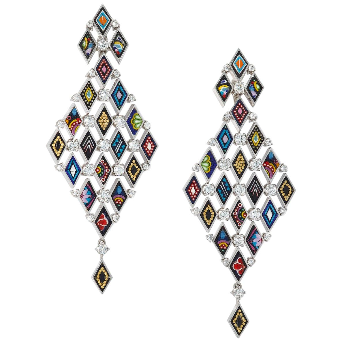 Stylish Modern Earrings White Gold White Diamonds HandDecorated with MicroMosaic
