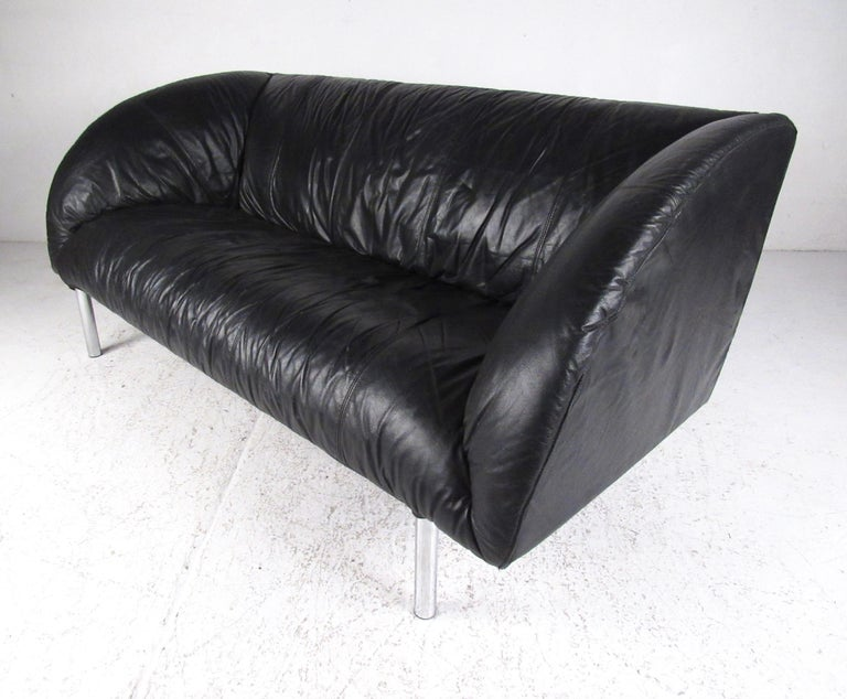 Stylish Modern Small Leather Sofa For Sale At 1stdibs