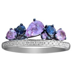 Stylish Multi-Color Diamond Pink Sapphire White Gold 14 Karat Ring for Her
