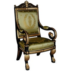 Stylish Napoleonic Swan Armchair in Empire Style