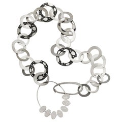 Stylish Necklace Silver White Diamonds Micro Mosaic Designed by Fuksas