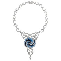 Stylish Necklace White Gold White Diamonds Hand Decorated with Micro Mosaic