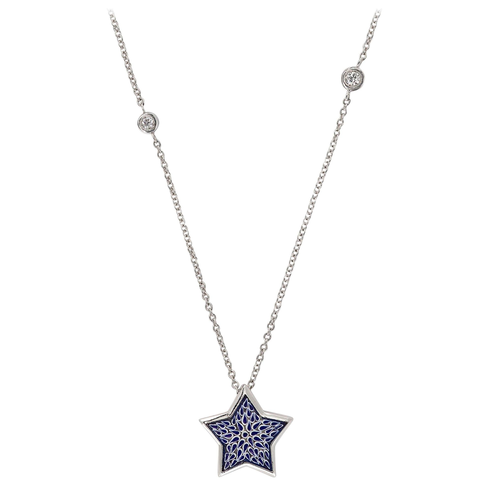 Stylish Necklace White Gold White Diamonds HandDecorated with MicroMosaic