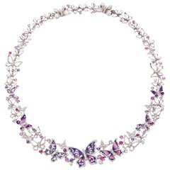 Stylish Necklace White Gold White Diamonds Sapphires Hand Decorated Micromosaic