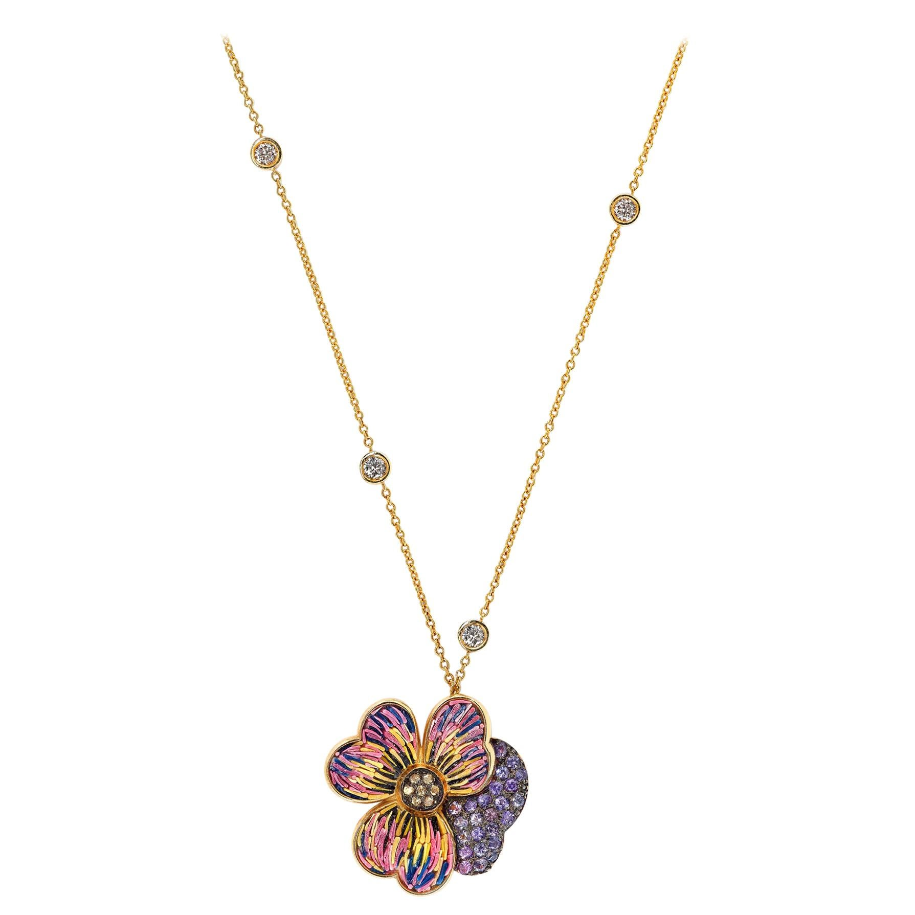 Stylish Necklace Yellow Gold White Diamonds Sapphires Hand Decorated MicroMosaic