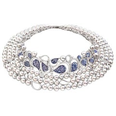 Stylish Neklace White Gold White Diamonds Blue Japanese Akoya Pearls Nano Mosaic