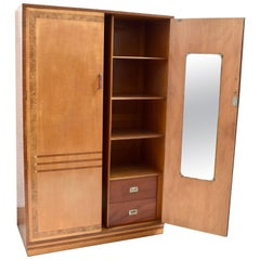 Stylish Original Art Deco Satinwood Double Wardrobe, circa 1930