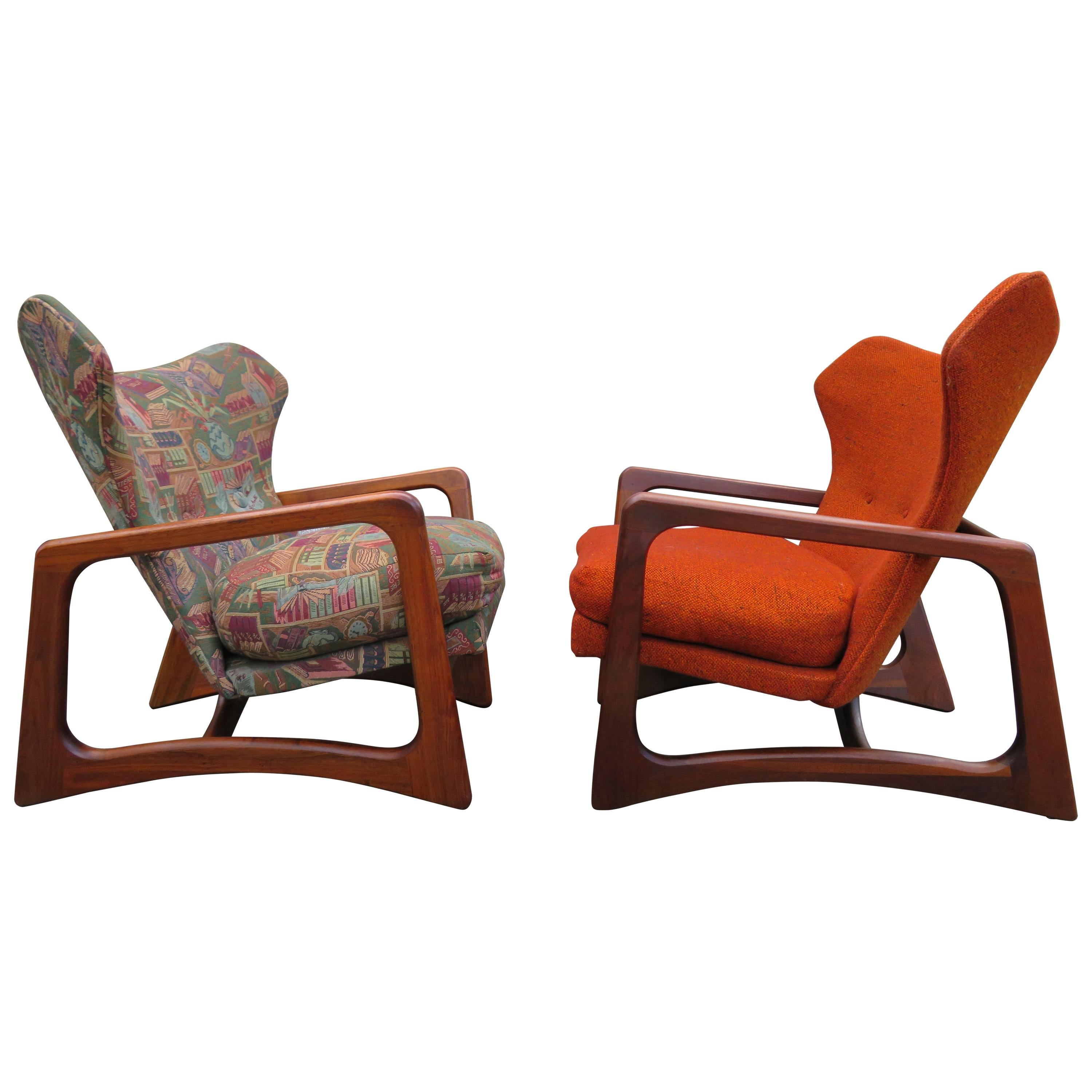 Stylish Pair Adrian Pearsall Unique Wing Back Chair Sculpted Walnut Midcentury