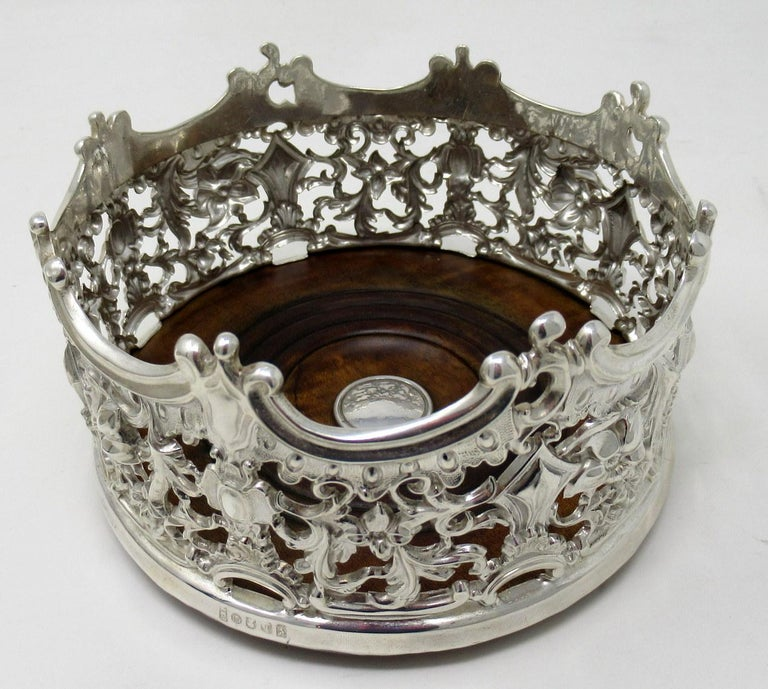 19th Century Stylish Pair of Italian Silver Plated Rococo Style Wine Champagne Coasters For Sale
