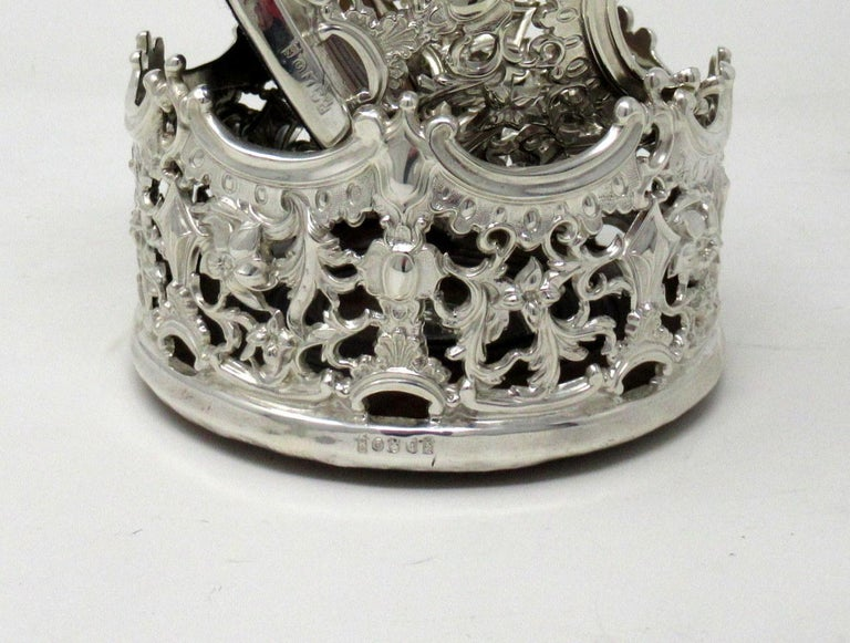 Stylish Pair of Italian Silver Plated Rococo Style Wine Champagne Coasters For Sale 4