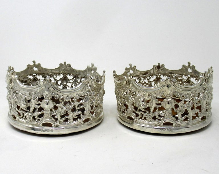 Stylish Pair of Italian Silver Plated Rococo Style Wine Champagne Coasters For Sale 5