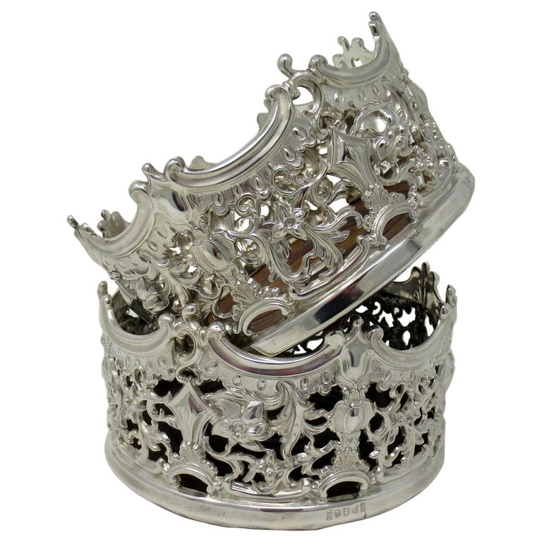 Stylish Pair of Italian Silver Plated Rococo Style Wine Champagne Coasters For Sale