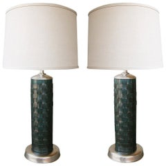 Stylish Pair of American 1940s Cylindrical-Form Leather-Clad Lamps
