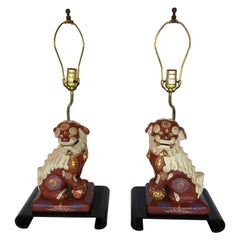 Stylish Pair of Asian Foo Dog Table Lamps on Waterfall Black Lacquer Stands