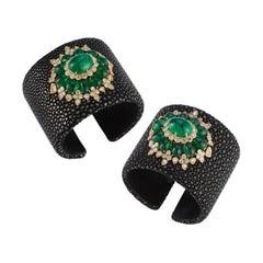Stylish Pair of Cabochon Emerald and Diamond Bangles