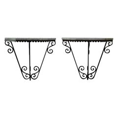 Stylish Pair of Early 20th Century French Wrought Iron Console Tables