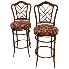 Stylish Pair of Faux Bamboo Swivel Counter Stools