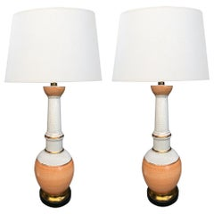 Stylish Pair of Frederick Cooper 1960s Peach and White Crackle-Glaze Lamps