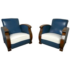 Stylish Pair of French Faux Leather Art Deco Club Armchairs with Walnut Armrest