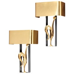 "Stylish Pair of Gilded Bronze and Brass ""Rooster"" Sconces by Maison Charles"