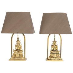 Stylish Pair of Gilded Bronze Buddha Table Lamps
