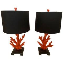Stylish Pair of Hermès Orange Faux Coral Table Lamps