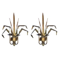 Stylish Pair of Italian 1960s Gilt-Tole 2-Arm Cattail Wall Lights/Sconces