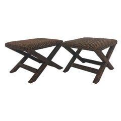 Stylish Pair of Water Hyacinth Raffia Classic X-Style Benches