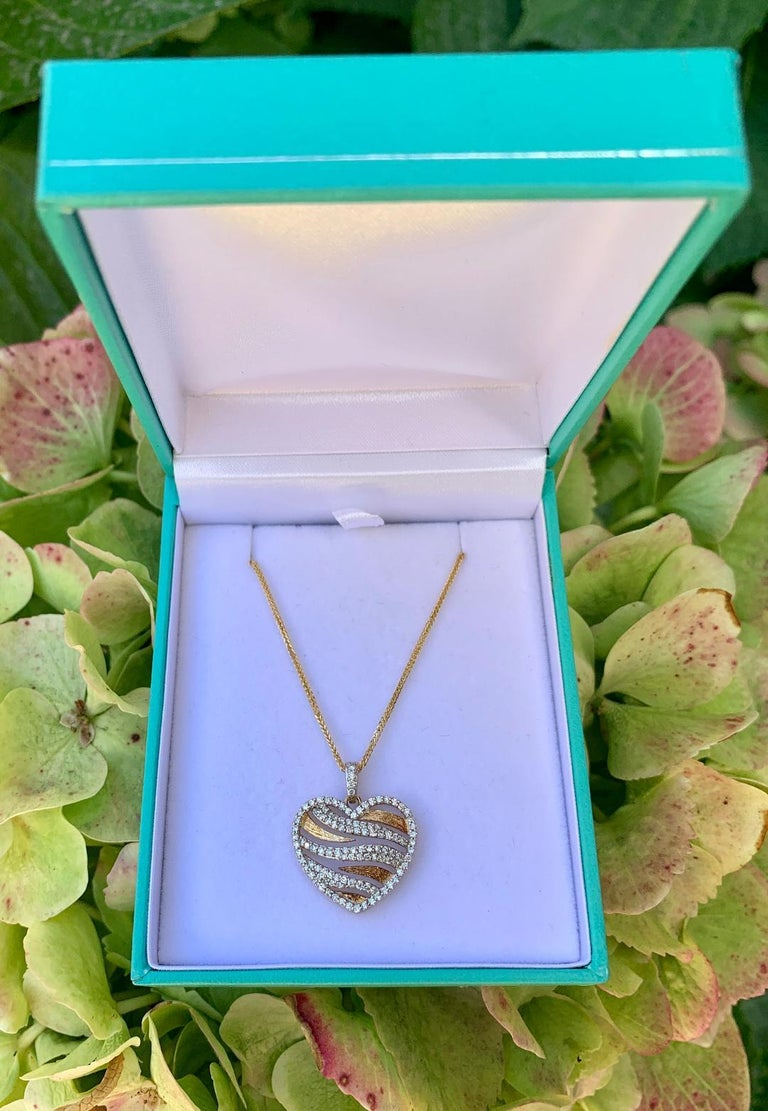 Stylish Pave Diamond Zebra Stripe Heart Pendant Two-Tone Yellow Gold with Chain For Sale 4