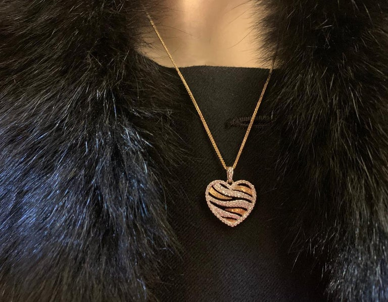 Contemporary Stylish Pave Diamond Zebra Stripe Heart Pendant Two-Tone Yellow Gold with Chain For Sale