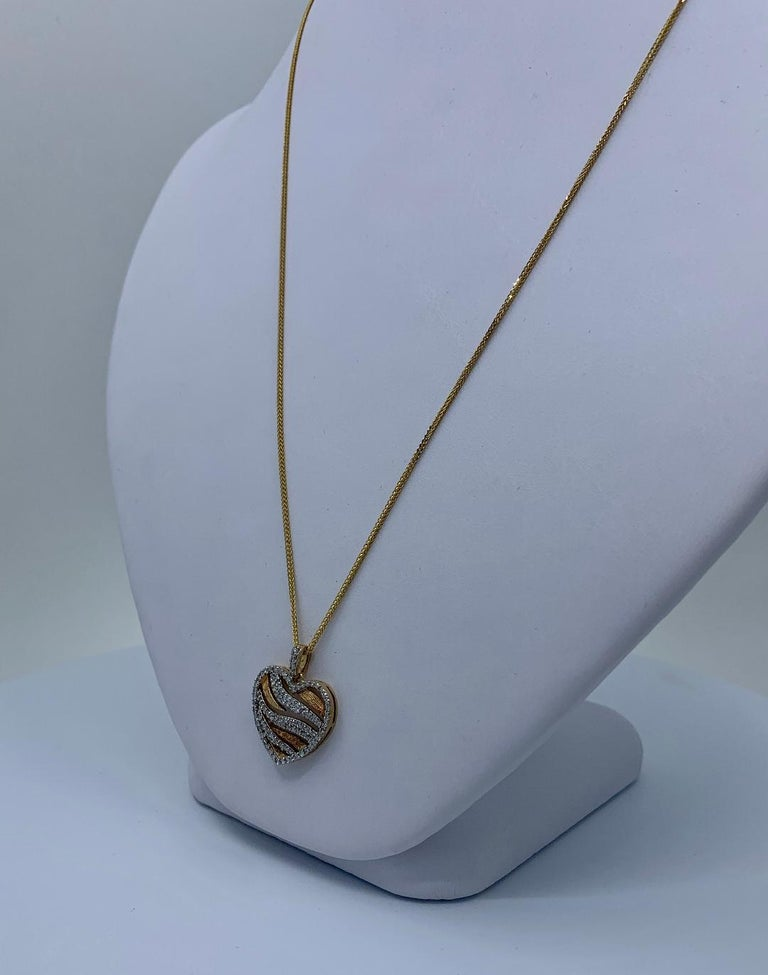 Women's Stylish Pave Diamond Zebra Stripe Heart Pendant Two-Tone Yellow Gold with Chain For Sale