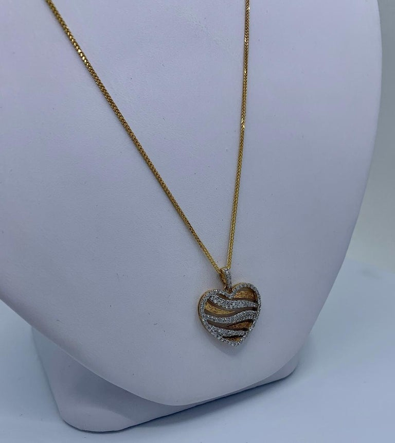 Stylish Pave Diamond Zebra Stripe Heart Pendant Two-Tone Yellow Gold with Chain For Sale 1
