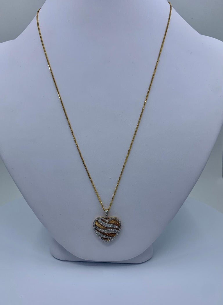 Stylish Pave Diamond Zebra Stripe Heart Pendant Two-Tone Yellow Gold with Chain For Sale 2