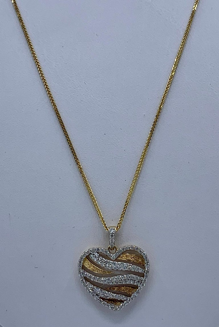 Stylish Pave Diamond Zebra Stripe Heart Pendant Two-Tone Yellow Gold with Chain For Sale 3