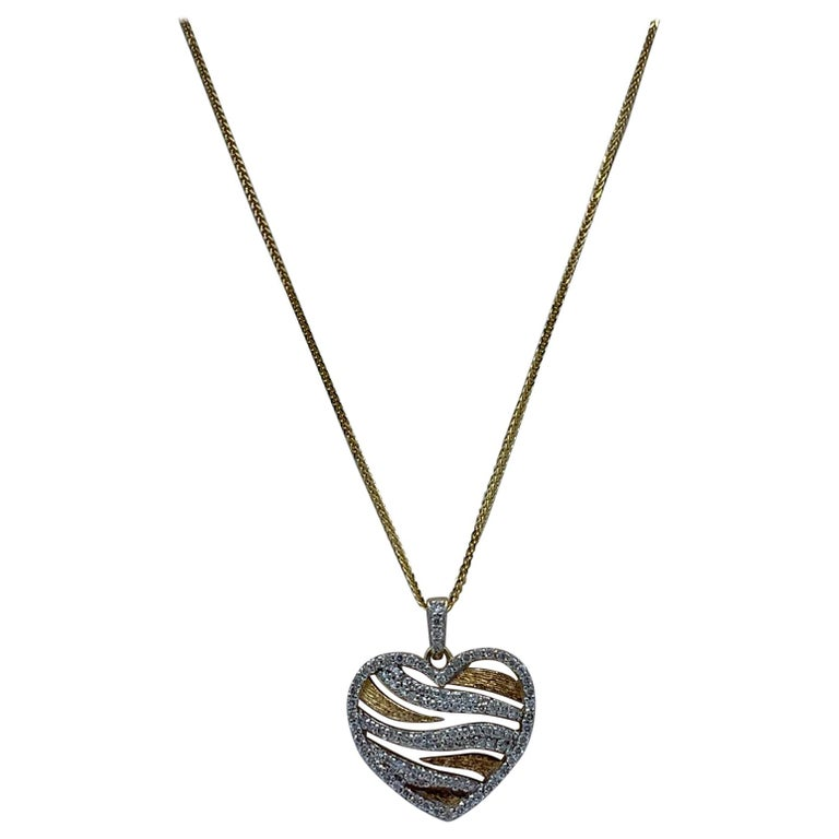 Stylish Pave Diamond Zebra Stripe Heart Pendant Two-Tone Yellow Gold with Chain For Sale