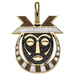 Stylish Pendant Charm Mask Yellow Gold Micro Mosaic Designed by Fuksas