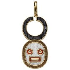 Stylish Pendant Charm Mask Yellow Gold Micro Mosaic Designed by Fuksas