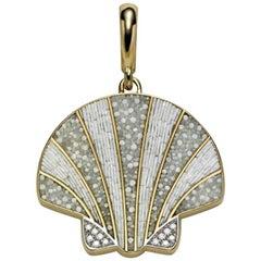 Stylish Pendant Charm Yellow Gold White Diamonds Micro Mosaic Designed by Fuksas