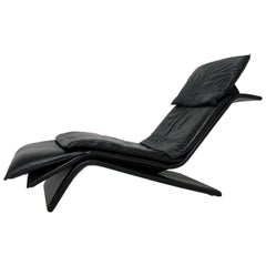 Stylish Postmodern Maurice Villency Leather Chaise, circa 1980s