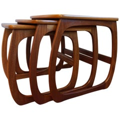 Stylish & Practical Mid-Century Modern Handmade Afrormosia Wood Nest of Tables