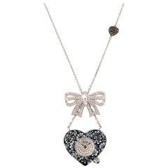 Stylish Quartz Watch Necklace Gold White and Black Diamonds Decorated NanoMosaic