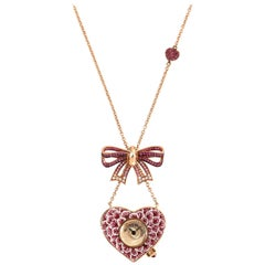 Stylish Quartz Watch Necklace Gold White Diamonds Sapphires Decorated Nanomosaic