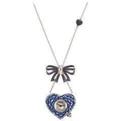 Stylish Quartz Watch Necklace White Gold Blue Sapphires Hand Decorate NanoMosaic