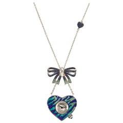 Stylish Quartz Watch Necklace White Gold Sapphires Emerald Decorate Nano Mosaic
