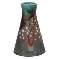 Stylish Raku Metallic Glazed Conical Shape Signed Studio Pottery Vase