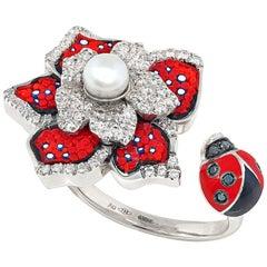 Stylish Ring White Gold White and Black Diamonds Pearl Hand Decorated Nanomosaic